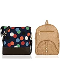 Kleio Combo Of Printed Cross Body Sling Bag & Zipper Backpack For Girls / Women