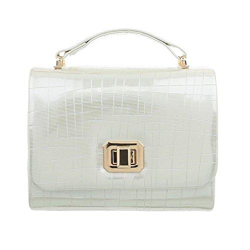 Ital-Design Damen-Tasche Sehr Kleine Abendtasche Handtasche Schulterkette Kunstleder Elfenbein TA-HL3046 (Elfenbein Handtasche Damen)