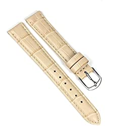 Eulit Guinea Replacement Band Watch Band Leather Kalf Strap Beige 8007_21S, Abutting:12 mm