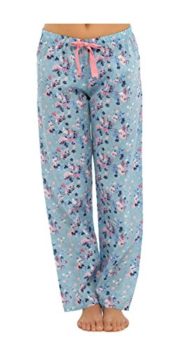 Womens/Mesdames imprimé coton Pantalon pyjama/lounge pantalon pour femme Bleu - Bleu