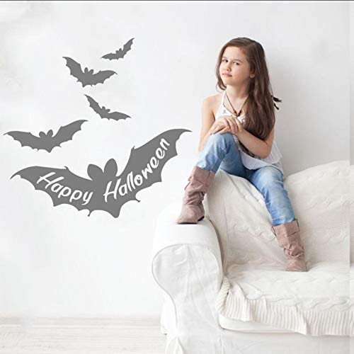 Lglays happy halloween quotes in bat wings decorazioni in vinile per halloween wall sticker volare pipistrelli cute wall mural decal quality poster 56 * 56cm