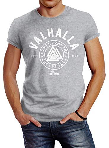 Neverless Herren T-Shirt Valhalla Runen Vikings Wikinger Slim Fit grau 4XL