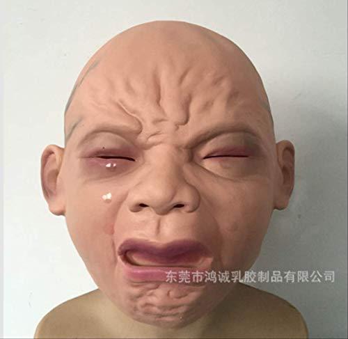 dhude Latexmaske Halloween Kostüm Party Latex Schreie Baby Kopfmaske Oberfläche lächelnder Babymaske Babymaske Vollkopf Perücke Spukhaus Promiität