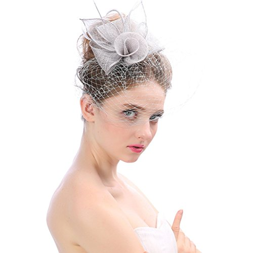 tor Hat Blume Federn Clip Cocktail Party Headwear Hüte Party Derby Ball Bankett Festival Cap,Gray ()