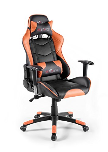 MC Racing 12, silla gaming, silla de oficina, silla de escritorio, gaming chair, negro/naranja, 69 x 125-135 x 58 cm, 62487SO3