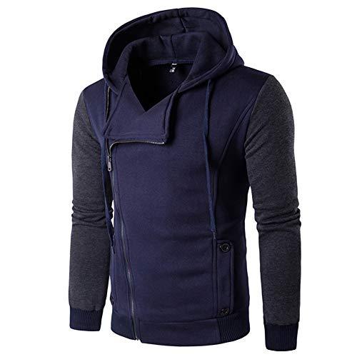 Zegeey Männer Casual Langarm Herbst Winter Patchwork Reißverschluss Sweatshirt Mit Kapuze Top Bluse Mantel