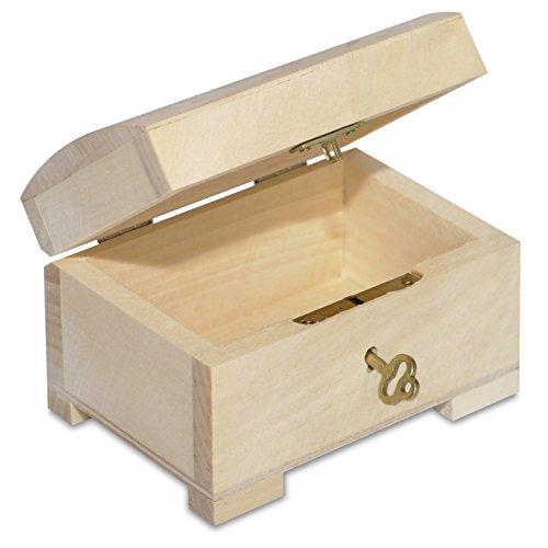 Kleine Holzkiste Holzbox Schmuckstück - 10,6 x 7,5 x 7,5 cm - mit Deckel, Schloss und Schlüssel - Abschließbare Verschließbare Klappbare Truhe Schmuck (Holz-schmuck-boxen, Klappbar)