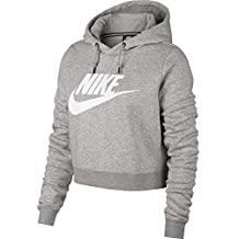 Nike W NSW Rally Hoodie Crop Sudadera, Mujer, Gris Heather/Pale Grey/