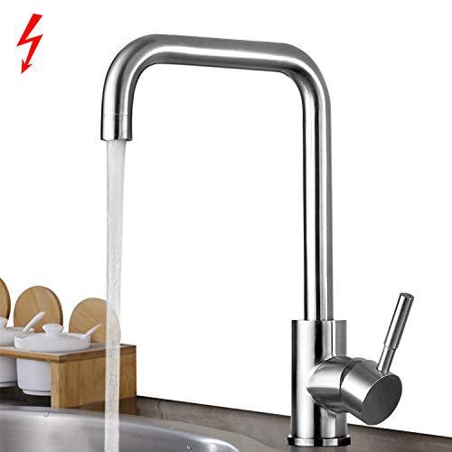 BONADE Küchenarmatur Niederdruck Armatur Küche Wasserhahn aus SUS304 Edelstahl Niederdruckarmatur Spültischarmatur Spülbecken Küchenspüle Einhebelmischer Mischbatterie