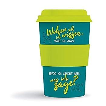 Bamboo Becher to go 'Woher soll ich wissen...' 400 ml für Kaffee/Tee: aus Bambus mit Silikondeckel und -halter in Geschenkverpackung