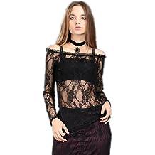 Top extremos pelados gótico romántico burlesque encaje negro