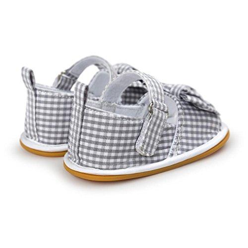 Chaussures Bébé Rawdah Baby Girl Sandales Bowknot Chaussures Antidérapantes Pour 0~18 Mois Bébé Gris