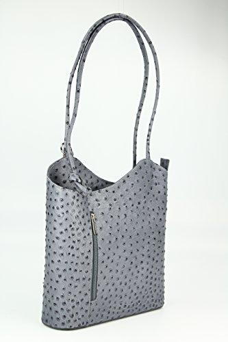 """BELLI ital. Ledertasche """"Belli Backpack"""" 2in1 Rucksack Handtasche Schultertasche - Freie Farbwahl - 28x28x8 cm (B x H x T) Grau strauss"""