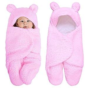 cuigu recién nacido niña niño ropa para bebé, manta de bebé Wrap invierno suave algodón saco de dormir con capucha de peluche 0–12meses, algodón, rosa, 11.42″x21.65″