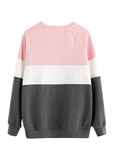 ROMWE Damen Streifen Sweatshirt Farbblock Lang Locker Langarmshirt Pullover Rosa