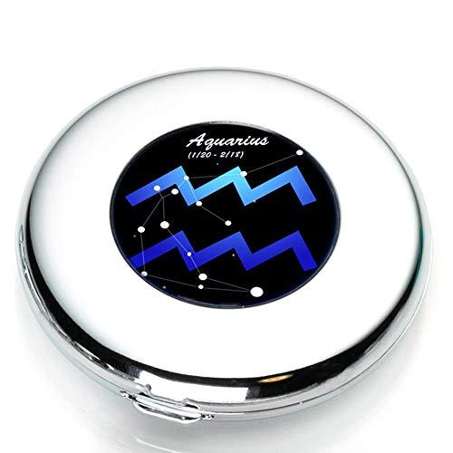 TCYu 12 Konstellation Make-up-Spiegel, doppelseitig, mit Federn, Kleiner Spiegel, 6,3 cm, blau, Aquarius