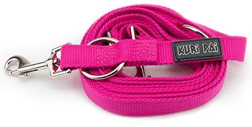 KURI PAI, guinzaglio per cani di taglia media, colore rosa, più volte regolabile, 3 m (1,5 m - 2,8 m) doppio (2,0 cm di larghezza), per due cani, ecologico in bambù