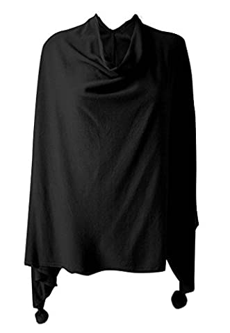 Ladies Womens Lagenlook Quirky Low sides cowl neck pom pom cashmere poncho (Black)