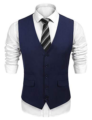 Burlady Herren Weste Anzug Weste V-Ausschnitt Ärmellose Slim fit Weste Business Casual Klassisch Basic Männer Anzugweste
