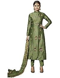 VARAYU Women's Green Cotton Satin Partywear Semistitched Straight Suit(601DJ9017,Green)