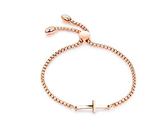 AieniD Edelstahl Armband zum Damen Kreuz Rose Gold