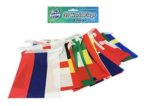 WM 2018 Fußball Kleine Flaggen Fahnenkette Weltmeisterschaft Banner Dekoration Alle 32 Nationen, Länge 6m