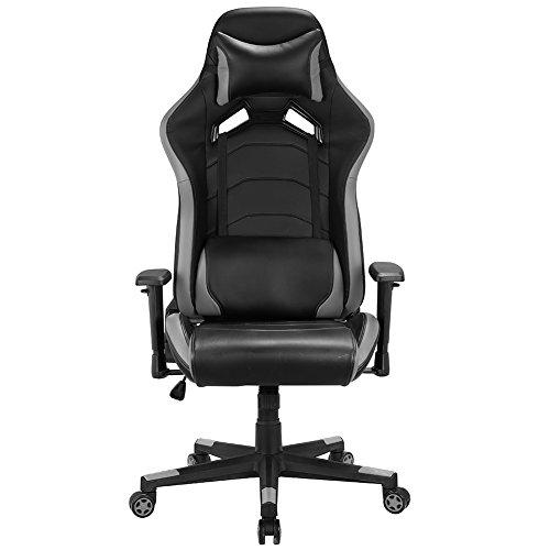 Gaming Stuhl, Schreibtischstuhl Bürostuhl Computerstuhl Racing Stuhl Sportsitz Chefsessel Drehstuhl mit Verstellbare Armlehnen (Grau) - Verstellbare Armlehnen