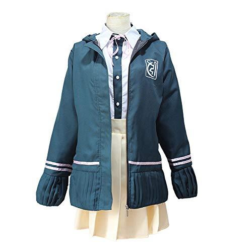 Vokaer Danganronpa Cosplay Kostüm Chiaki Nanami High School Outfit Uniform Kleid Mantel Reißverschluss Hoodie Jacke,Blau,XL