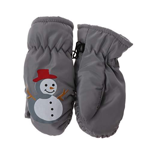 """Cuigu Kinder Winter Warm Ski-Handschuhe Niedlich Schneemann Design Jungen Mädchen Sport wasserdicht Winddicht Rutschfest Schneehandschuhe Handgelenk Ski-Handschuhe, grau, 7.09\"""""""