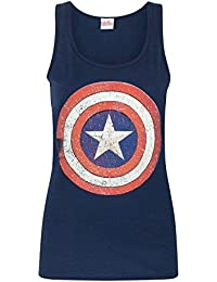 Captain America Distressed Shield Logo Women's Vest (L)