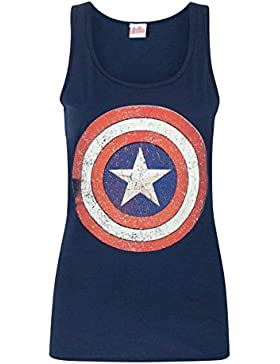 Captain America Distressed Shield Logo Women's Vest