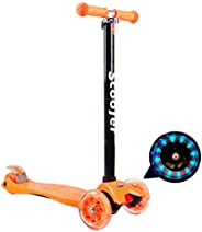 4-Wheel Stunt Scooter, Kids Flash Pedal Scooter with PU Flash Wheel, Rear Brake and Non-Slip Handle, Suitable