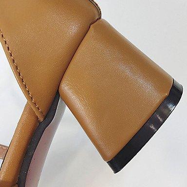 LvYuan Da donna Sandali PU (Poliuretano) Estate Footing Fibbia Heel di blocco Verde militare Marrone chiaro 5 - 7 cm light brown