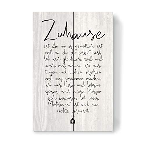 artboxONE Holzbild 30x20 cm Typografie Zuhause - EIN Gedicht von Künstler OHKIMIKO