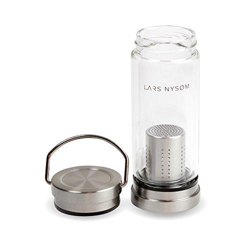 LARS NYSØM Teeflasche Pure Life I 260ml Teebereiter aus Glas mit Tea Infuser I Teebecher Glas 100% BPA-Frei I Teeflasche mit Sieb to Go