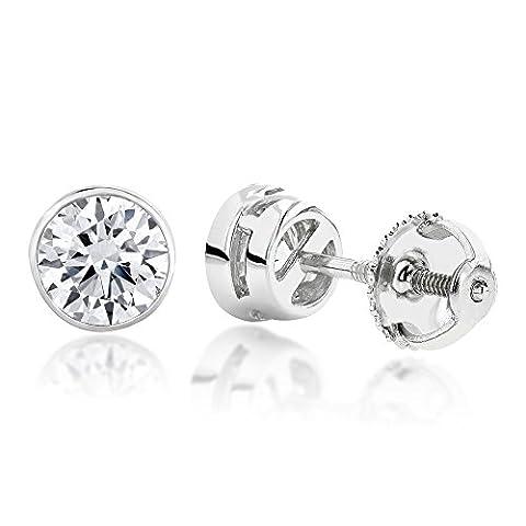 Luxurman 18k Gold Round Solitaire Diamond Bezel Stud Earrings (White Gold)