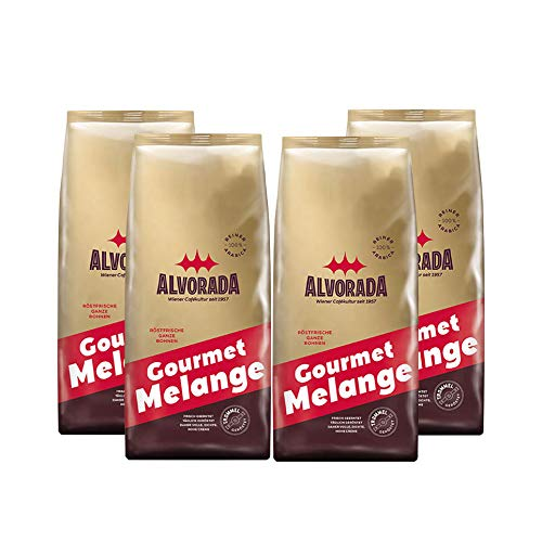 ALVORADA Gourmet Melange, Röstkaffee, ganze Bohnen, 1 kg, 4er Pack