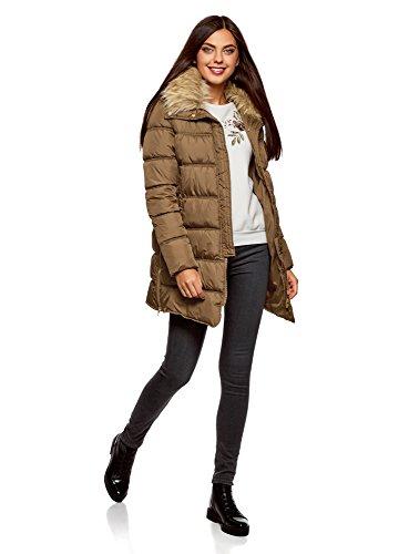 oodji Ultra Damen Lange Jacke mit Kunstpelz am Kragen Beige (3500N)