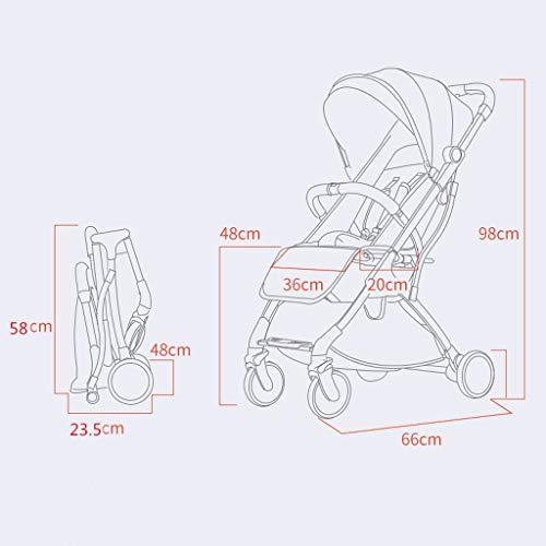 Imagen para Cochecitos de bebé Ajustables en Altura Aviones para niños pequeños y Ligeros Portabrazos portátiles para niños Sillón 4 Ruedas Sillones para bebés (Color : Dark Gray, tamaño : 66 * 36 * 98cm)