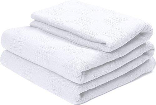 King Woven Bett (Utopia Bedding 100% Premium Woven Cotton Decke (King, Weiß) Atmungsaktive Baumwolle Decke und Quilt für Bett & Couch / Sofa)