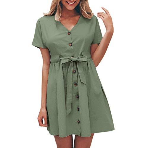 Button Up Anzug (GOKOMO Damenmode Kurzarm V-Ausschnitt Button-Up Spitzenkleid(Armeegrün,Medium))