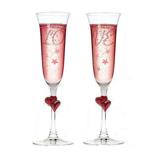 Herz Sektgläser mit Gravur LOVE + Herz im Stiel + Valentinstag Geschenk + Liebe + Hochzeit + Hochzeitstag - rot