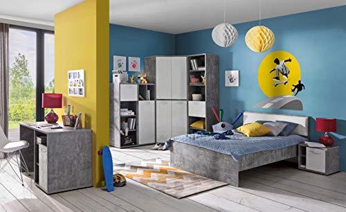 möbel-direkt Jugendzimmer Canmore in Grau Vintage und Weiß Hochglanz 6 teiliges Superset mit 2türigem Eckkleiderschrank, 120er Bett, Nachttisch, Highboard, Schreibtisch und Regal