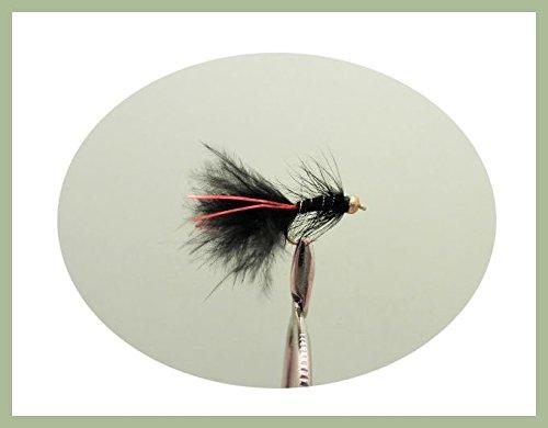 Lot de 6mini goldhead Noir Rouge Flash Taille 12, truite mouches Demoiselles