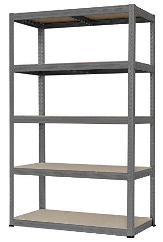 Hans Schourup 13501090 Weitspannregal mit 5 böden aus MDF, Traglast von bis zu 250 kg pro Boden, 180 cm x 120 cm x 45 cm, Grau