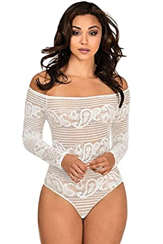 saphira fashion. White Lace Off Shoulder Long Sleeve Bodysuit. Baby doll