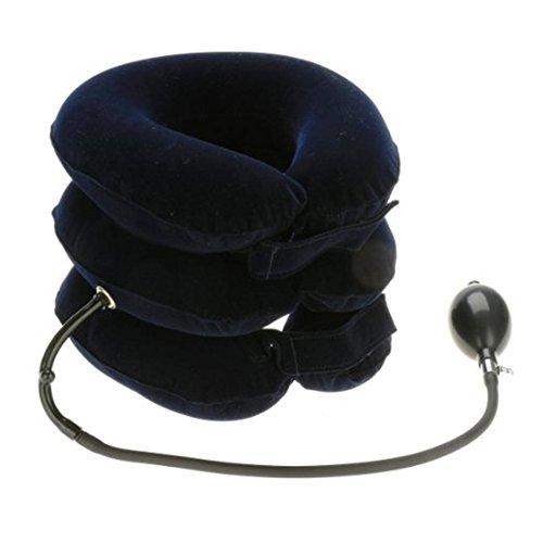 Glield cuscino ad aria per collo gonfiabile trazione vertebra cervicale casa a 3 strati qyq01 (blu)