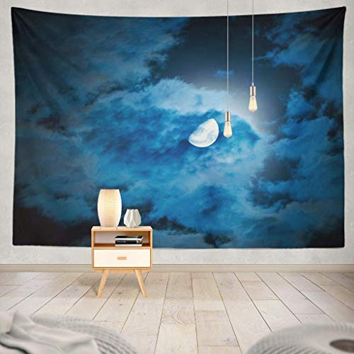 Tapisserie Moon and Clouds Night Sky Night Sky Black Bright Cloud Dark Dreams Dusk Fog Full Full Moon Halloween Horror Decorative Tapestry,60X80 Inches Wall Hanging Tapestry for Bedroom Living Room