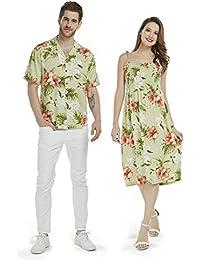 4e7c8035a Hecho en Hawaii Pareja Luau Aloha Camisa Maxi Smock Vestido en orquídea y  Hibisco