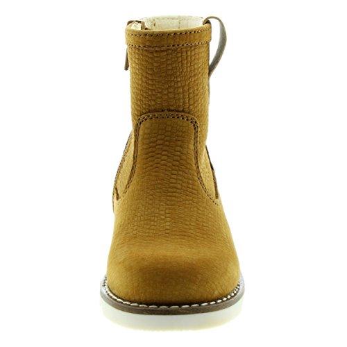 EnFant Fille, Boots Classiques à Fermeture Eclair, Cuir, Beige Camel 50 Tobacco